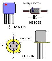 Распиновка пьезокерамического фильтра, варикапа и транзистора
