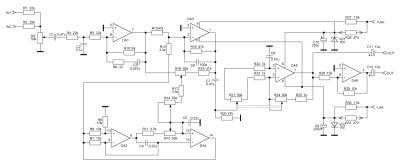 Принципиальная схема фильтра для сабвуфера. Нажмите для увеличения.
