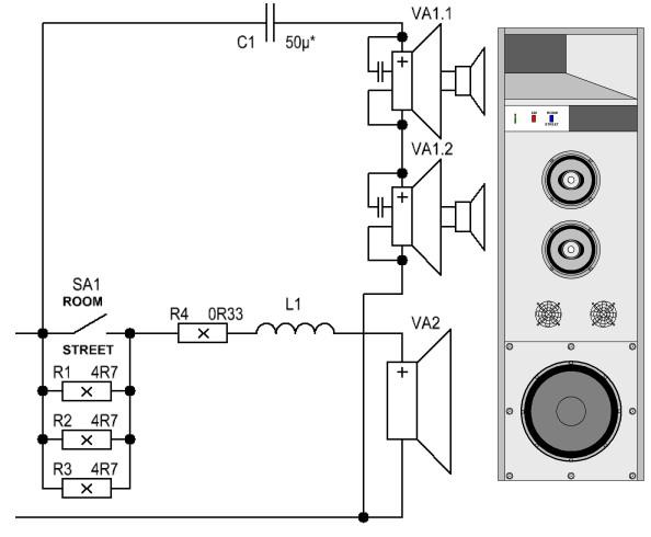 Принципиальная схема акутивной акустической системы и примерный внешний вид.