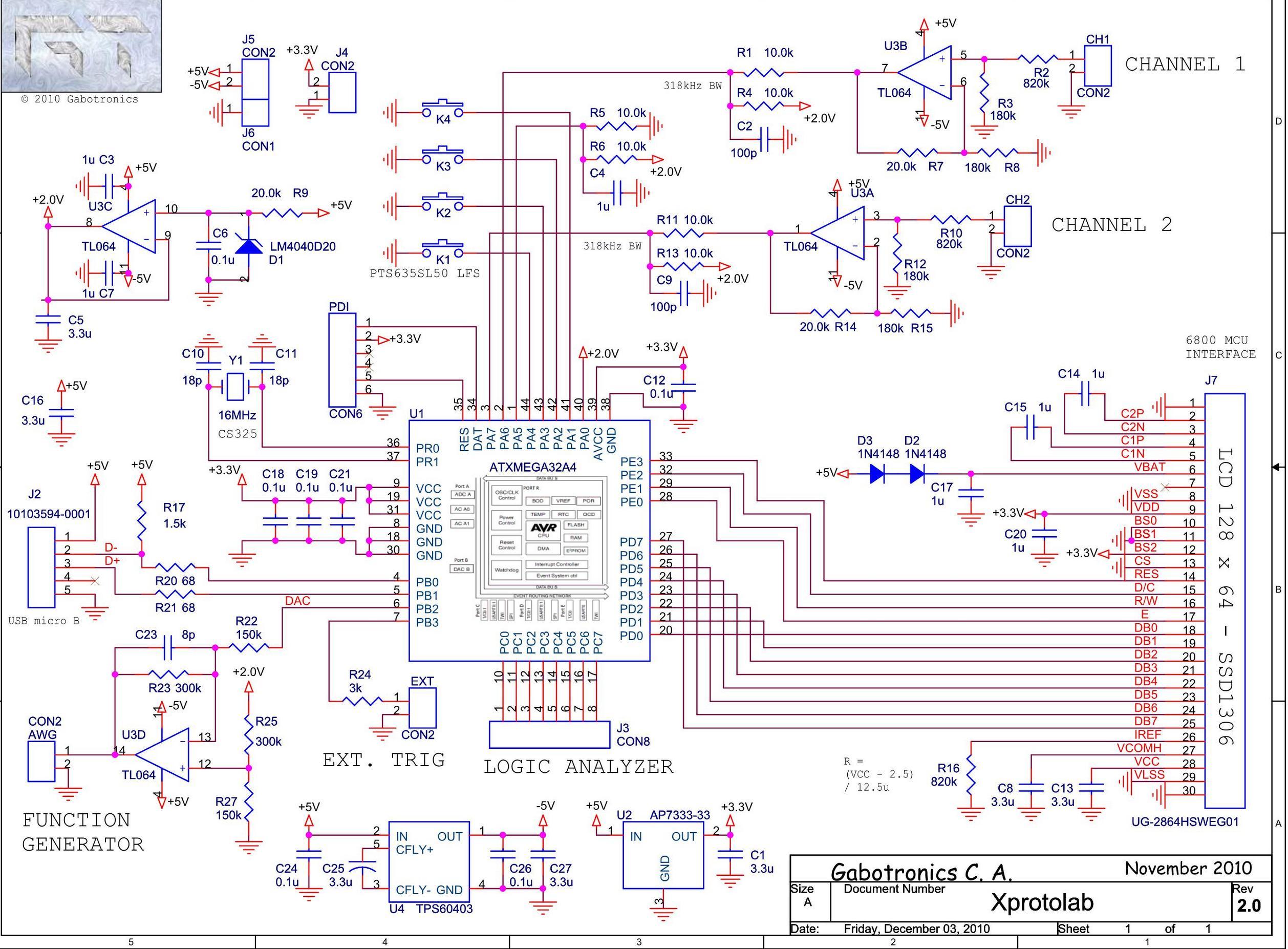 Принципиальная схема: Миниатюрный осциллограф на ATXMEGA32