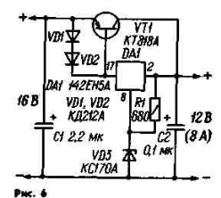 Схема СН с ограничением тока через регулирующий транзистор . Эта задача решается включением параллельно эмиттерному переходу транзистора VT1 двух соединенных последовательно диодов VD1, VD2, которые открываются, если ток нагрузки превышает 7 А. СН продолжает работать и при некотором дальнейшем увеличении тока, но как только он достигает 8 А, срабатывает система защиты микросхемы от перегрузки. Недостаток рассмотренного варианта — сильная зависимость тока срабатывания системы защиты от параметров транзистора и диодов, (ее можно значительно ослабить, если обеспечить тепловой контакт между корпусами этих элементов).