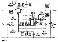 Мощный СН можно выполнить по схеме на рис. 9. Представленный вариант обеспечивает выходное напряжение в пределах 5...30 В при токе нагрузки до 5 А. Кроме микросхемы DA1 и регулирующего транзистора VT1, он содержит измерительный мост, образованный резисторами R2 — R5, R7, и компаратор на ОУ DA2. Особенность моста в том, что через входящий в него резистор R7 протекает большая часть тока нагрузки. Требуемое выходное напряжение устанавливают подстроенным резистором R6, значение тока (в данном случае 5 А), при превышении которого СН становится стабилизатором тока. Свечение светодиода HL1 сигнализирует о том, что устройство перешло в режим стабилизации тока.