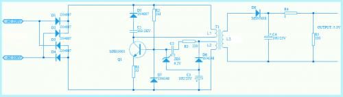Схема электрического преобразователь с вызывным дросселем